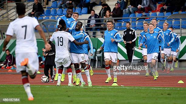 Players of Germany celebrate their first goal during the U19 international friendly match between Germany and England on September 4 2015 in Bergisch...