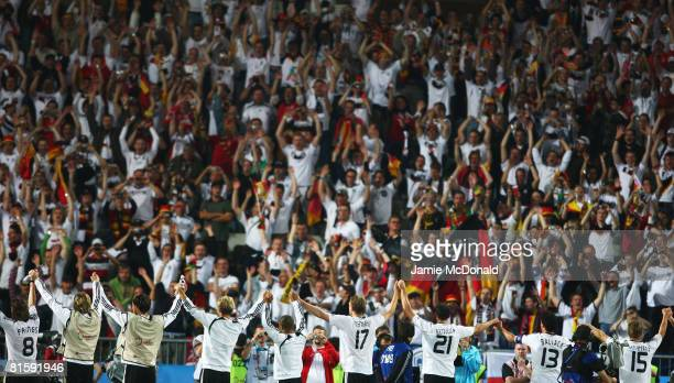 Players of Germany celebrate victory with their fans after the UEFA EURO 2008 Group B match between Austria and Germany at Ernst Happel Stadion on...