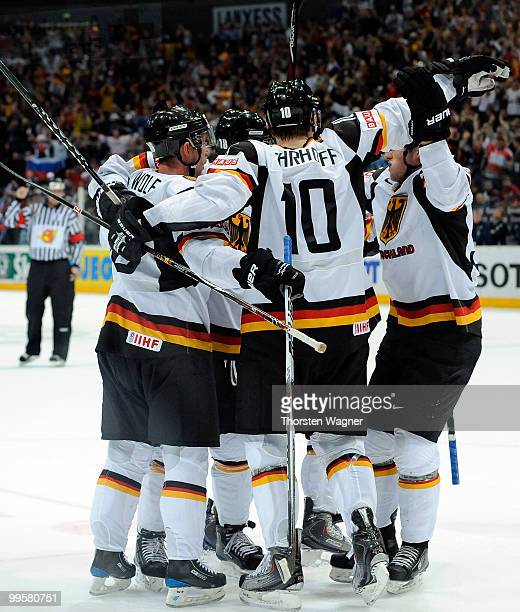 Players of Germany celebrates after Christian Ehrhoff scored the first goal during the IIHF World Championship qualification round match between...