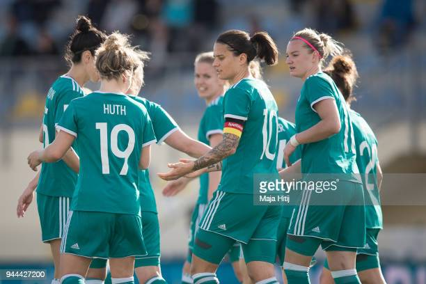 Players of Germany celebrates teams fourth goal to make it 04 during Slovenia Women's and Germany Women's 2019 FIFA Women's World Championship...
