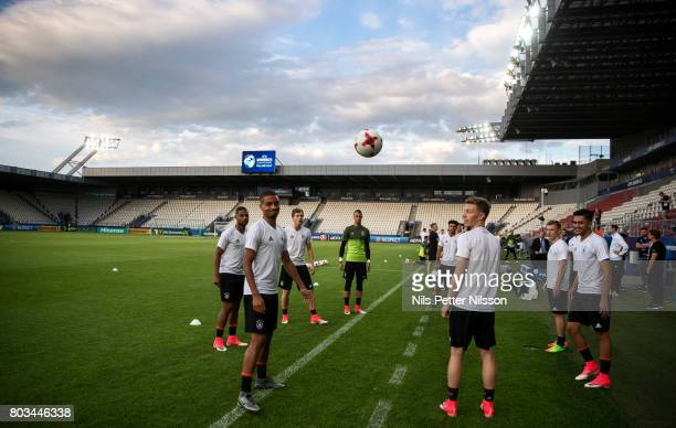 Players of Germany during the Germany U21 national team press conference at Krakow Stadium on June 29 2017 in Krakow Poland