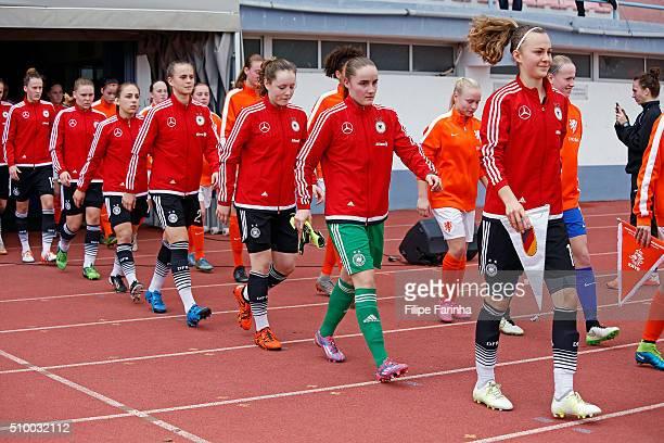 players of Germany entering to the game ront to back starting the captain Lena Lattwein Laura Sieger Anna Hausdorff Klara Buhl Gina Chmielinski Lara...