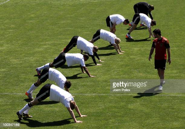 Players of Germany exercise during a training session at Sportzone Rungg on May 23 2010 in Appiano sulla Strada del Vino Italy