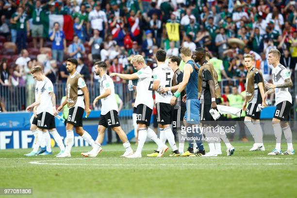 Players of Germany gesture after losng the 2018 FIFA World Cup Russia Group F match against Mexico at the Luzhniki Stadium Moscow in Moscow Russia on...