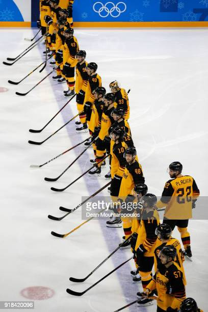 Players of Germany get ready during the Men's Ice Hockey Preliminary Round Group C game on day six of the PyeongChang 2018 Winter Olympic Games at...