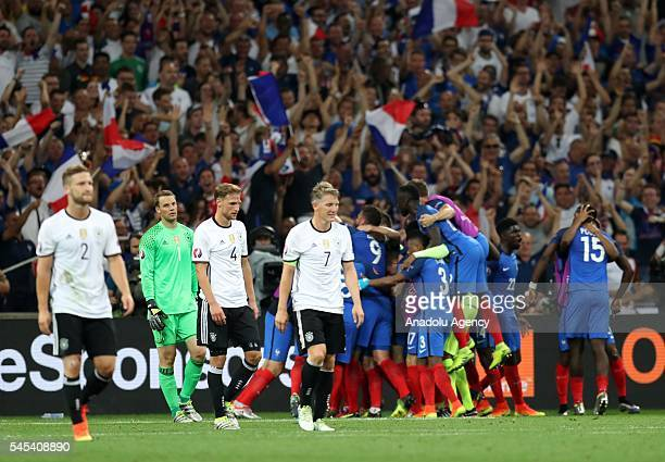 Players of Germany get upset after France scored a goal during the UEFA Euro 2016 semi final match between Germany and France at Stade Velodrome in...