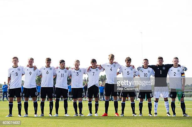 Players of Germany huddle as their national anthem is played before the U18 international friendly match between Ireland and Germany on November 13...