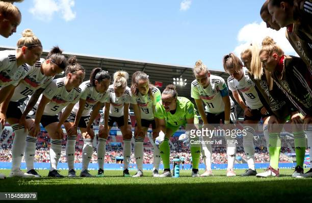 Players of Germany huddle on the pitch prior to the 2019 FIFA Women's World Cup France group B match between Germany and China PR at Roazhon Park on...