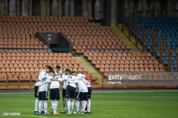 Players of Germany huddle prior to the Germany U19 against Portugal U19 match of UEFA Four Nations Tournament on November 14 2018 in Yerevan Armenia