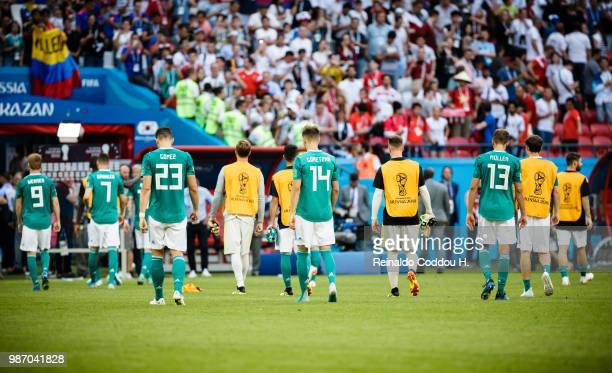 Players of Germany leave the pitch disappointed following the 2018 FIFA World Cup Russia group F match between Korea Republic and Germany at Kazan...