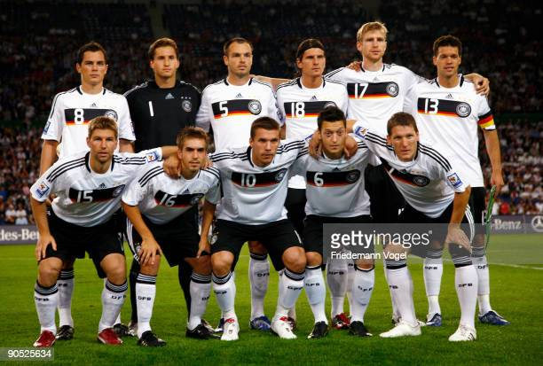 Players of Germany line up during the FIFA 2010 World Cup Group 4 Qualifier match between Germany and Azerbaijan at the AWD Arena on September 9 2009...