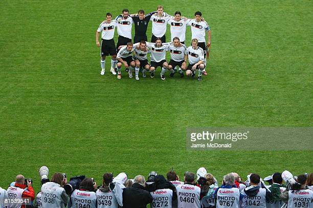 Players of Germany line up in front of photographers prior to the UEFA EURO 2008 Group B match between Croatia and Germany at Worthersee Stadion on...