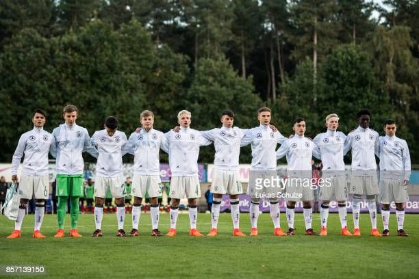 Players of Germany line up prior to the friendly match between U16 Belgium and U16 Germany on October 3 2017 in Genk Belgium