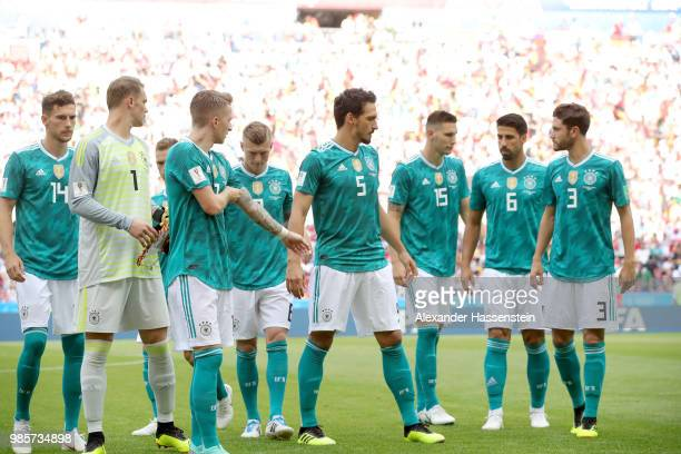 Players of Germany lineup for the 2018 FIFA World Cup Russia group F match between Korea Republic and Germany at Kazan Arena on June 27 2018 in Kazan...