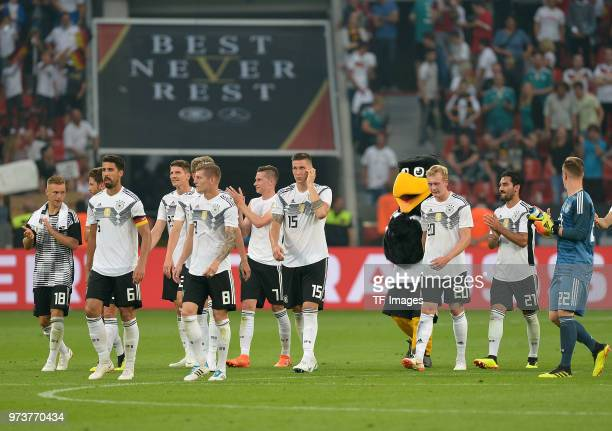 Players of Germany look on after the international friendly match between Germany and Saudi Arabia at BayArena on June 8 2018 in Leverkusen Germany