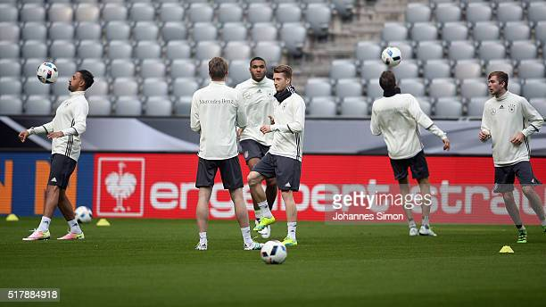 Players of Germany participate in the training session ahead of the international friendly match between Germany and Italy at Allianz Arena on March...