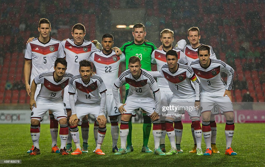 Players of Germany pose before the international friendly match between U21 Czech Republic and U21 Germany on November 18, 2014 in Prague, Czech Republic.