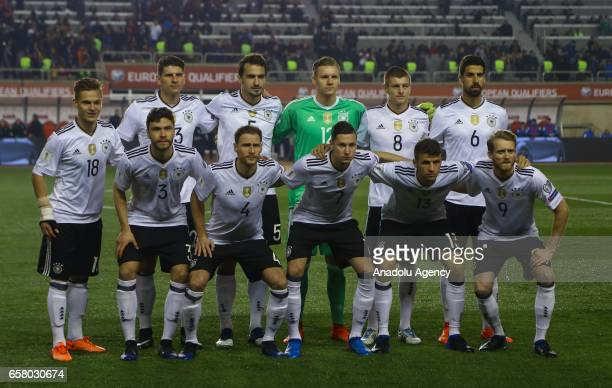 Players of Germany pose for a photo ahead of the 2018 FIFA World Cup European Qualifying match between Azerbaijan and Germany at Tofiq Bahramov...