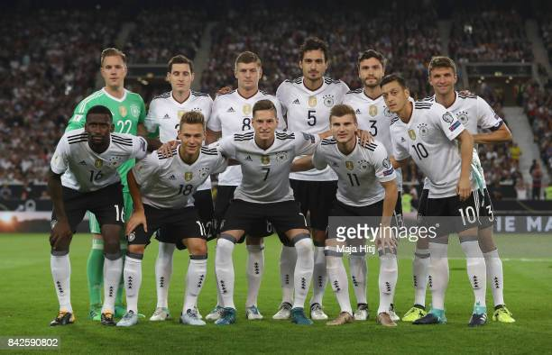 Players of Germany pose for a picture during the FIFA 2018 World Cup Qualifier between Germany and Norway at MercedesBenz Arena on September 4 2017...
