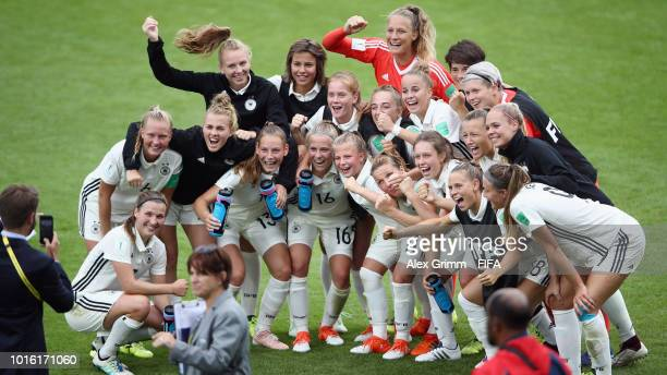Jana Feldkamp of Germany and team mates concentrate in the tunnel prior to the FIFA U20 Women's World Cup France 2018 group D match between Germany...