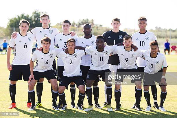 Players of Germany pose for a team photo before the U18 international friendly match between Netherlands and Germany on November 14 2016 in Salou...