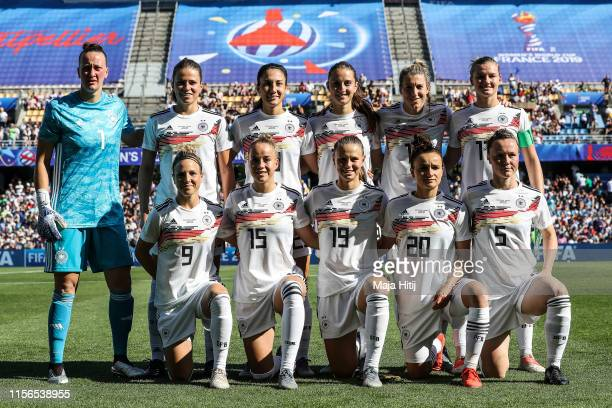 Players of Germany pose for a team photo during the 2019 FIFA Women's World Cup France group B match between South Africa and Germany at Stade de la...