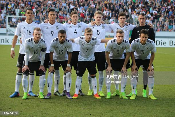 Players of Germany pose for a team photo prior the International Friendly match between Germany U21 and Portugal U21 at GaziStadion on March 28 2017...