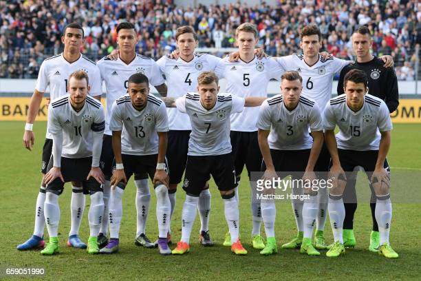 Players of Germany pose for a team photo prior the U21 International Friendly match between Germany U21 and Portugal U21 at GaziStadion auf der...