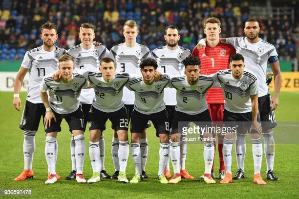 Players of Germany pose for a team photo prior to the 2019 UEFA Under21 European Championship qualifier match between U21 Germany and U21 Israel at...