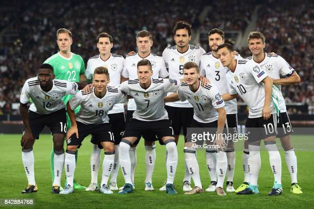 Players of Germany pose for a team photo prior to the FIFA World Cup Russia 2018 Group C Qualifier between Germany and Norway at MercedesBenz Arena...
