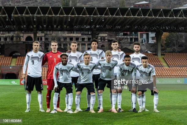 Players of Germany pose for a team photo prior to the Germany U19 against Portugal U19 match of UEFA Four Nations Tournament on November 14 2018 in...