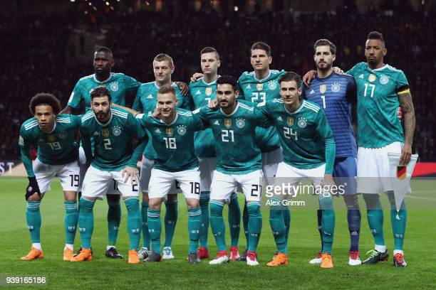 Players of Germany pose for a team photo prior to the international friendly match between Germany and Brazil at Olympiastadion on March 27 2018 in...