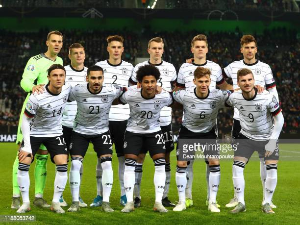 Players of Germany pose for a team photo prior to the UEFA Euro 2020 Group C Qualifier match between Germany and Belarus on November 16 2019 in...