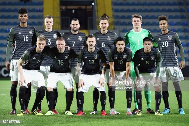 Players of Germany pose for a team photo prior to the UEFA Under21 Euro 2019 Qualifier match between Azerbaijan U21 and Germany U21 at Dalga Arena on...