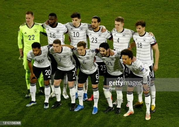 Players of Germany pose for a team photograph prior to the FIFA World Cup 2022 Qatar qualifying match between Germany and North Macedonia at...