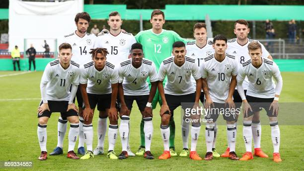 Players of Germany pose for a team photograph prior to the international friendly U20 match between U20 Germany and U20 Switzerland at Edmund...