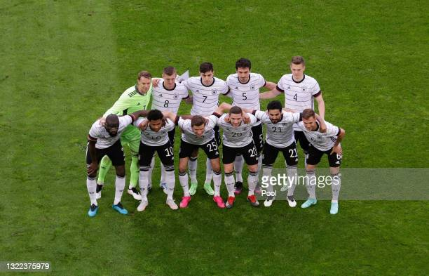 Players of Germany pose for a team picture ahead of the international friendly match between Germany and Latvia at Merkur Spiel-Arena on June 07,...