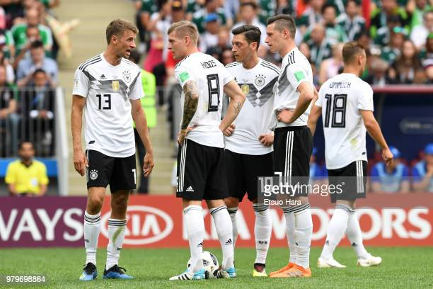 Players of Germany react during the 2018 FIFA World Cup Russia group F match between Germany and Mexico at Luzhniki Stadium on June 17 2018 in Moscow...