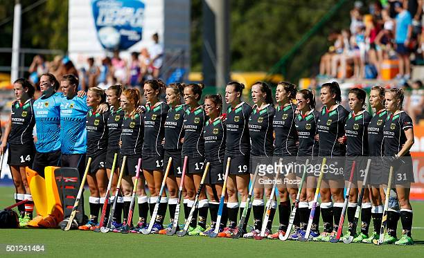 Players of Germany sing the national anthem before the bronze medal match between China and Germany as part of Day 9 of the Hockey World League Final...