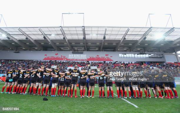 Players of Germany sing their national amthem prior to the Rugby Europe Championship match between Germany and Belgium at SpardaBankHessenStadion on...