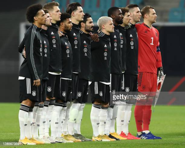 Players of Germany sing their national anthem prior to the UEFA Nations League group stage match between Germany and Ukraine at Red Bull Arena on...