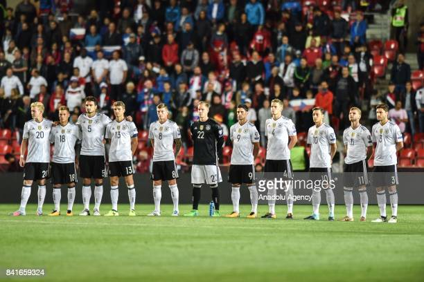 Players of Germany stand in silence during the 2018 FIFA World Cup Qualifications Group C match between Czech Republic and Germany in Prague Czech...