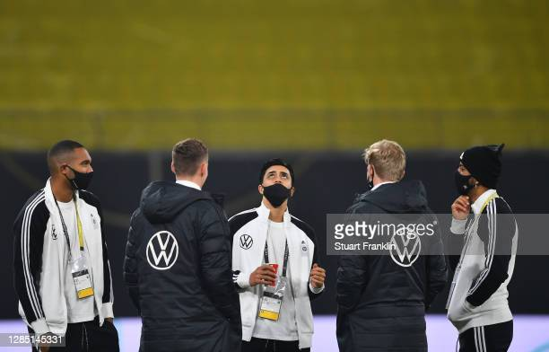Players of Germany stand on the pitch prior to the international friendly match between Germany and Czech Republic at Red Bull Arena on November 11,...