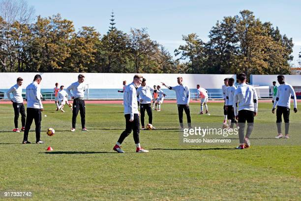 Players of Germany U16 at the warm up before the beginning of the match during UEFA Development Tournament match between U16 Italy and U16 Germany at...
