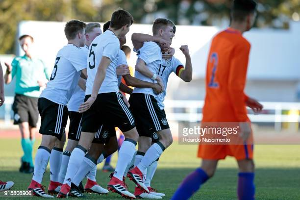 Players of Germany U16 celebrate a goal during UEFA Development Tournament match between U16 Germany and U16 Netherlands at VRSA Stadium on February...