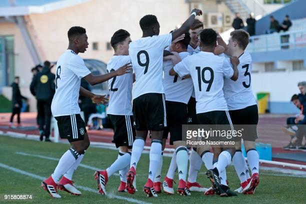 Players of Germany U16 celebrate a goal for Germany during UEFA Development Tournament match between U16 Germany and U16 Netherlands at VRSA Stadium...