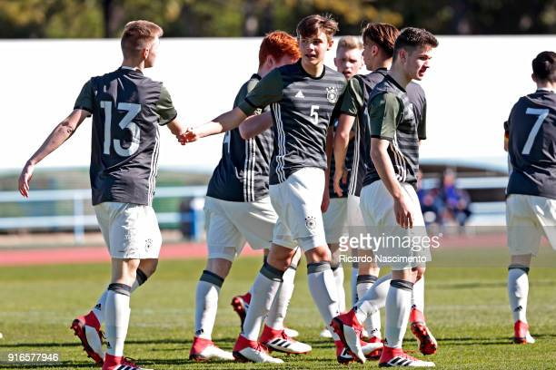 Players of Germany U16 celebrate a goal for Germany during UEFA Development Tournament match between U16 Italy and U16 Germany at VRSA Stadium on...