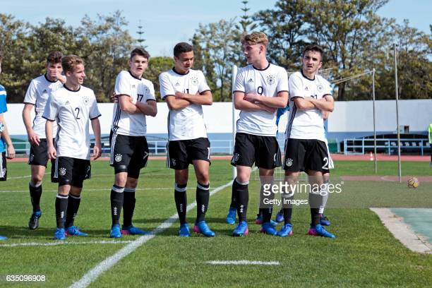 Players of Germany U16 celebrating their goal Jannis Rabold Fabrice Hartmann Oliver BatistaMeier Ole Pohlmann Erkan Eyibil during the UEFA...