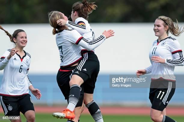 Players of Germany U16 Girls Lina Jubel Pauline Wimmer Pauline Berning Laura Haas celebrating their goal during the match between U16 Girls Portugal...