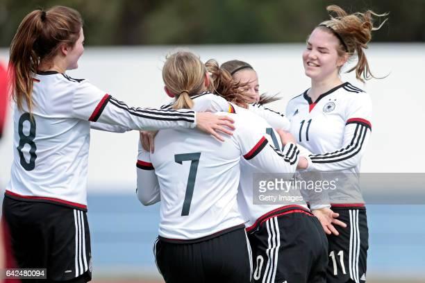 Players of Germany U16 Girls Noreen Günnewig Lina Jubel Pauline Wimmer Pauline Berning Laura Haas celebrating their goal during the match between U16...